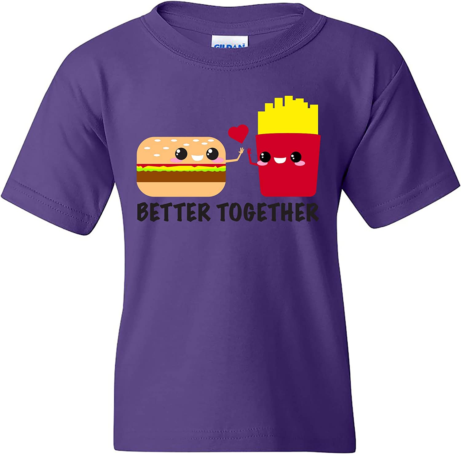 UGP Campus Apparel Better Together - Cheeseburger French Fries Fast Food Cute Cartoon Youth T Shirt