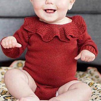 Mono Bebé, LANSKIRT Recién Nacido Bebé Niña Color Sólido Manga Larga Tejido de Punto Escote de Hoja de Loto Romper Mono Ropa de Trajes: Amazon.es: Ropa y accesorios