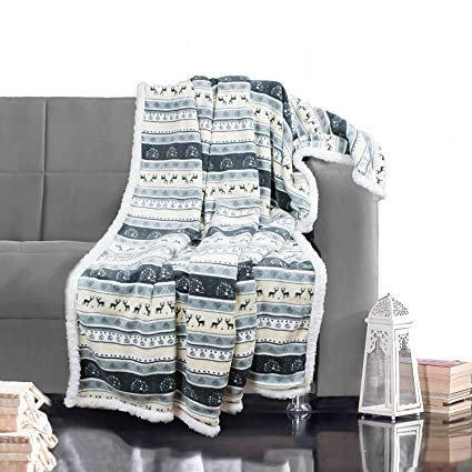 Fleece Plaid 150x200.Delindo Lifestyle Blanket Norway Grey Microfibre Coral Fleece Throw 150x200 Cm Large Plaid For Adults And Children