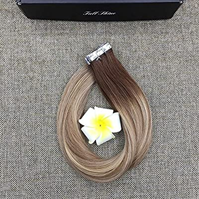 Full Shine 16 inch Sided Tape in Hair Extensions Dip Dyed Color Dark Brown With Blonde Highlights Hair Extensions #3 Fading to #8 and #22 Blonde Extensions 20Pcs 50gram