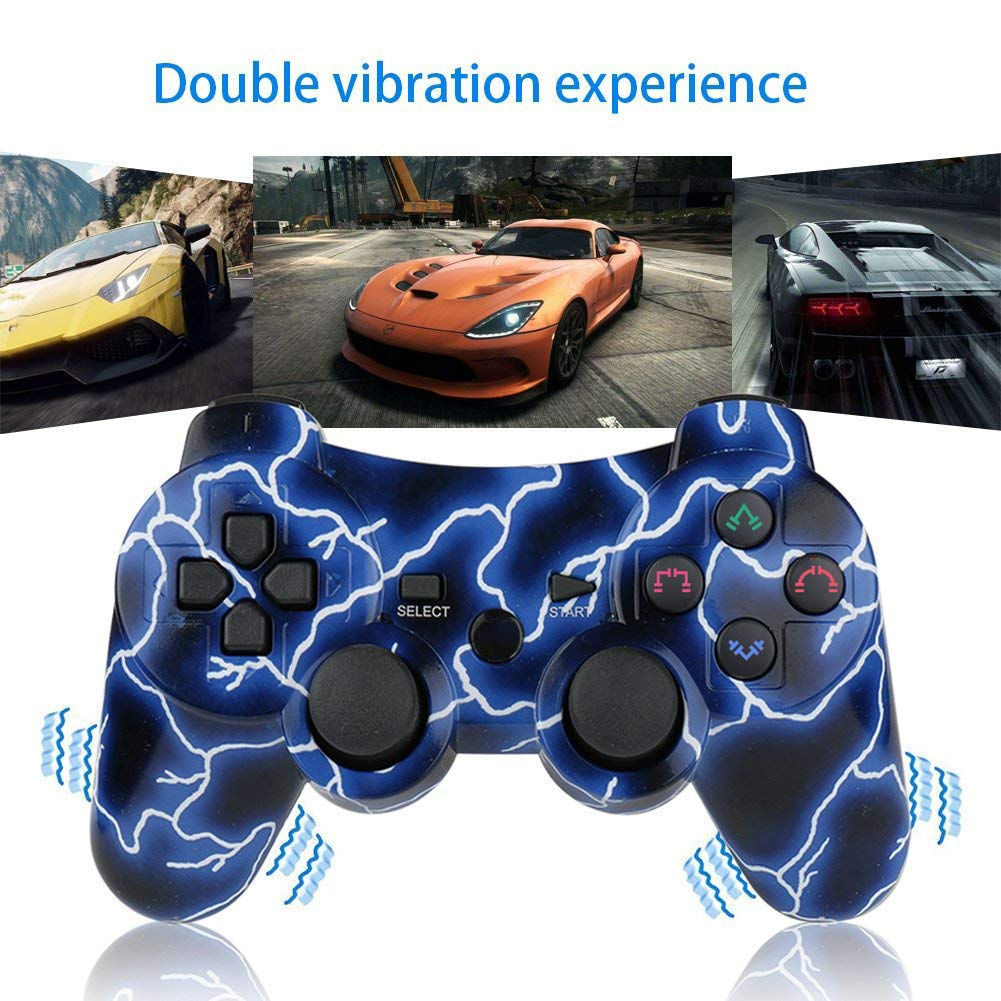 Six-axis wireless PS3 Controller with Charging Cable by Bowei PS3 Controller Wireless 2 Pcs Double Shock Gamepad for Playstation 3