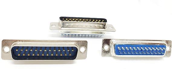DB Through Hole Pack of 2 25 Contacts DBM25PZ DBM25PZ Plug Steel Body DB25 DM Series D Sub Connector