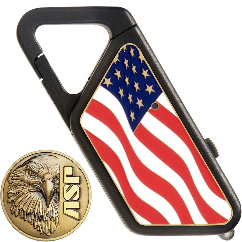 ASP Poly Sapphire Rechargeable USB Keychain Flashlight American Flag 20 Lu