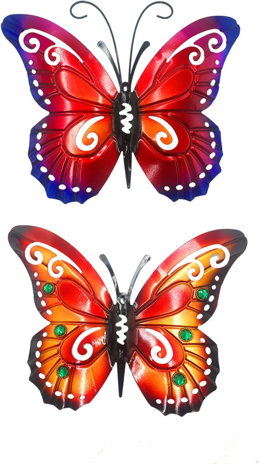 Set of 2 Metal Butterfly Wall Decor Outdoor Wall Art, Metal Wall Art Outdoor Wall Decor,Large Metal Wall Art Decor for Home Garden Patio Yard Fence Porch Tree(Orange&Red)
