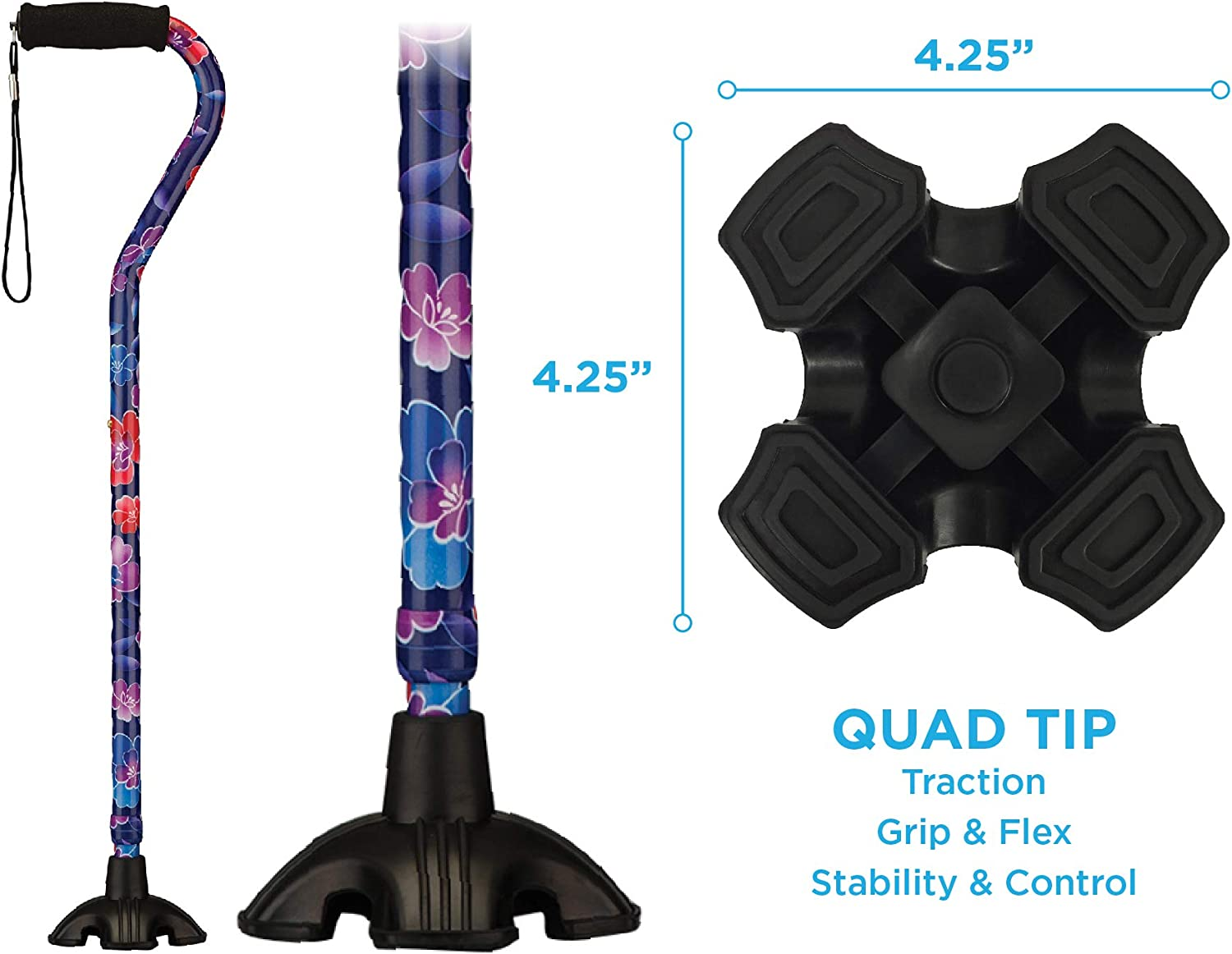 NOVA Sugarcane, Walking Cane with Quad Tip and Carrying Strap, Stand Alone Cane, Maui Flowers Design: Health & Personal Care