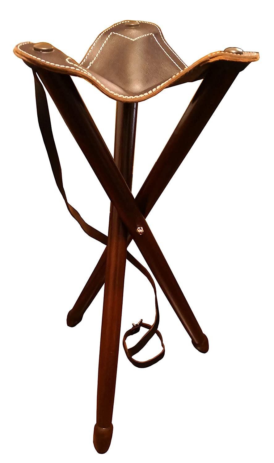 QUALITY LEATHER BLACK SHOOTING STICK is Folding SEAT STOOL for Walking