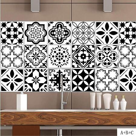 Jy Art T Stickers Muraux Carrelage Noir Et Blanc Coller Cuisine