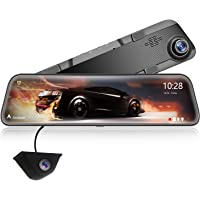 """WOLFBOX 12"""" 2.5K Mirror Dash Cam for Cars, Full HD 1440P Front and 1080P Rear camera, Dual Car Camera with Waterproof…"""