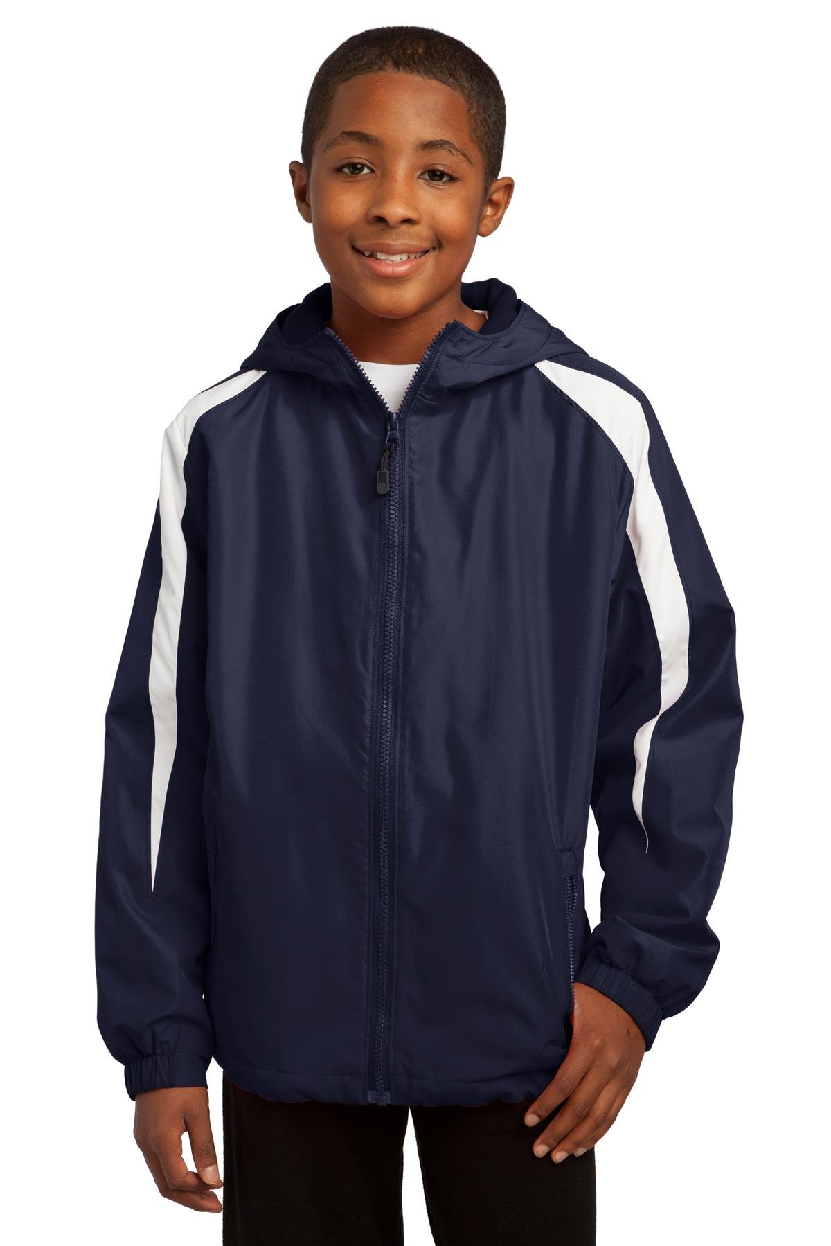 Sport-Tek Youth Fleece-Lined Colorblock Jacket, True Navy/White, M by Sport-Tek