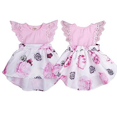 341dfc0f1 Amazon.com  CKLV Toddler Baby Girl Floral Dress Princess Tutu ...
