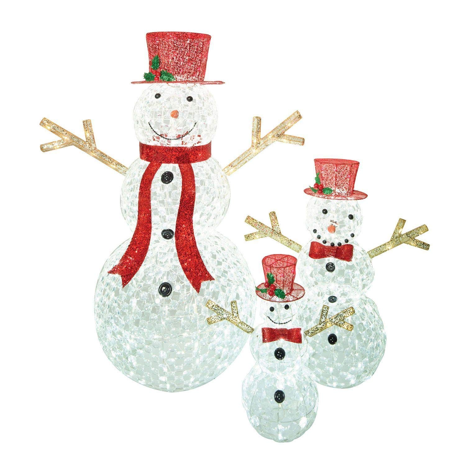 Amazon.com : Holiday Home Set of 3 Crystal Ice LED Lighted Snowman ...