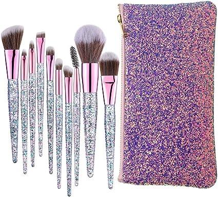 10 Piezas Pinceles de Maquillaje Juego de Pinceles de Maquillaje con Estuche de Viaje Mango de Madera Cepillo Kabuki de Fibra Sintética Para Base de Maquillaje Rubor Sombra de Ojos Poder Facial: