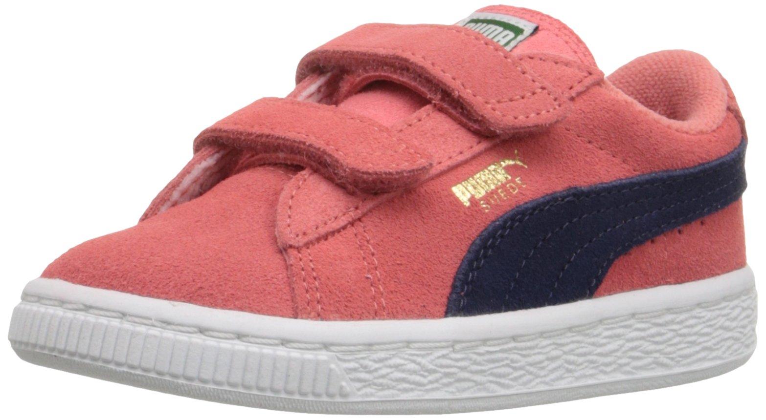 PUMA Suede 2 Straps Inf Sneaker (Toddler), Porcelain Rose/Peacoat, 4 M US Toddler