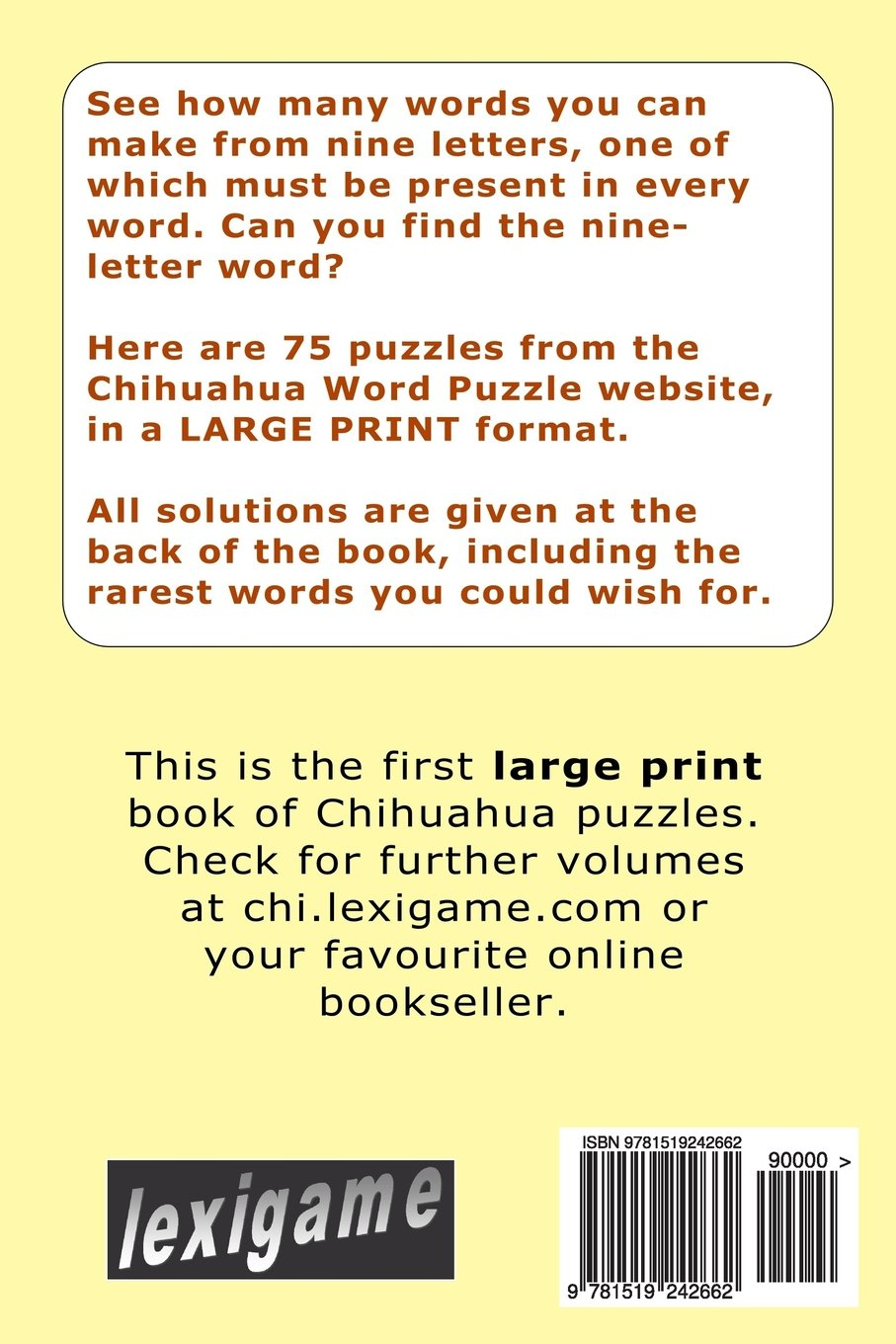 Chihuahua Large Print Nine Letter Word Puzzles Alan Walker