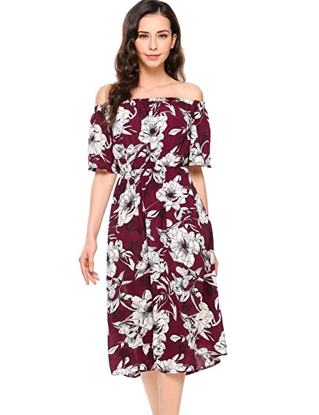 Meaneor Womens Summer Casual Off Shoulder Ruffled A Line Swing Floral Skater  Dress  Amazon.co.uk  Clothing 57430bd73