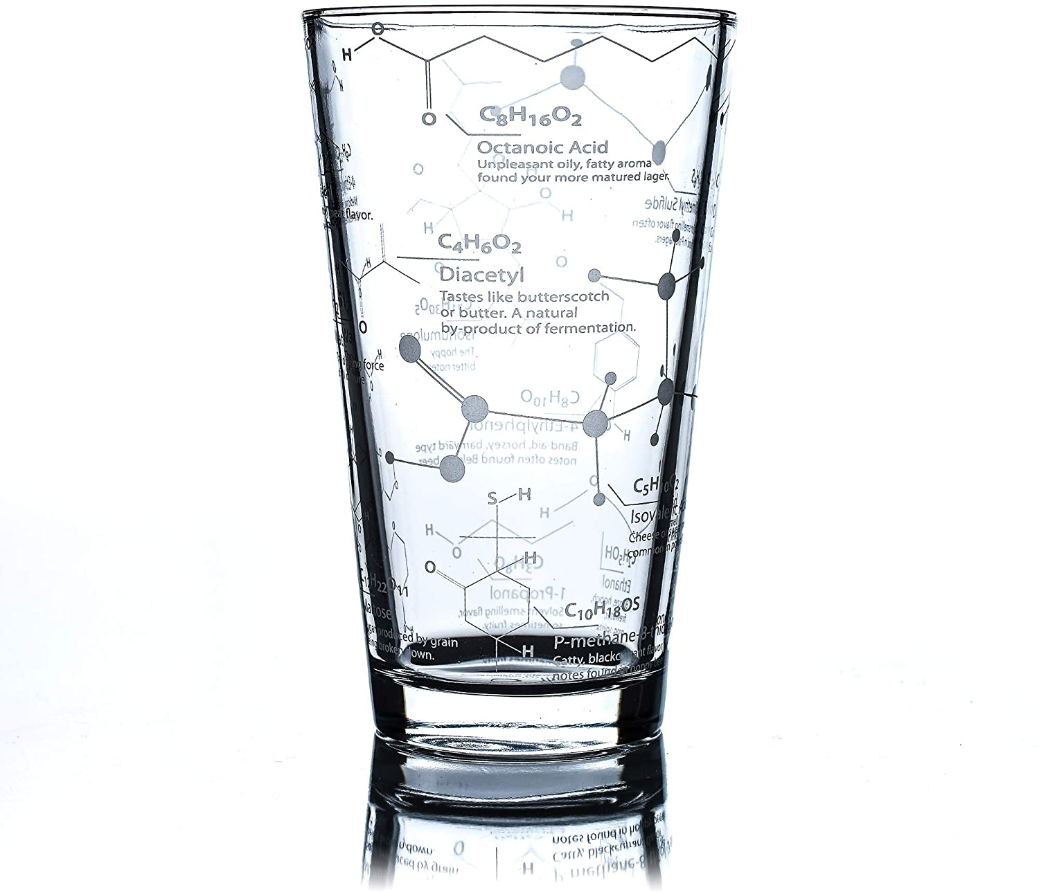 Greenline Goods Beer Glasses - 16 oz Pint Glass (1 Glass) – Science of Beer Glassware - Etched with Beer & Hops Chemistry Molecules
