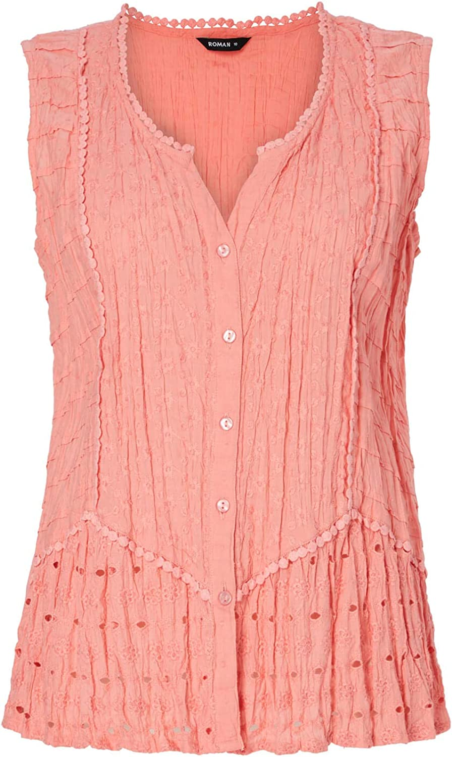 Roman Originals Women Crinkle Blouse Top Ladies 100/% Cotton Lace Detail Embroidered Sleeveless Formal Casual Tie Notch Neck Broderie Anglaise Shirt Cami Camisole Vest