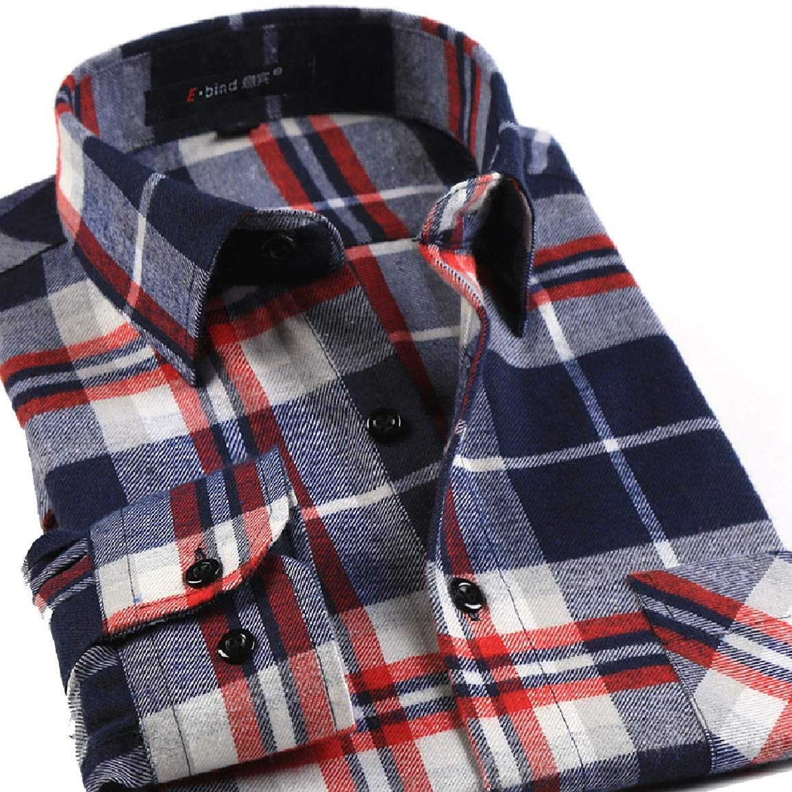 Nicelly Mens Thicken Long Sleeves Long Sleeve Plaid Leisure Button Down Dress Shirt
