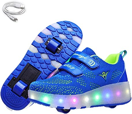 Amazon Com Ehauuo Kids Usb Charging Led Light Up Shoes With Wheels Retractable Roller Skates Shoes Roller Sneakers For Unisex Girls Boys Beginners Gift Walking