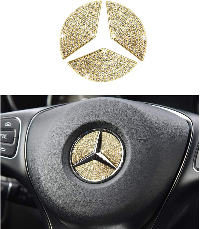 1797 Compatible Steering Wheel Logo Caps for Mercedes Benz Accessories Parts Emblem Badge Bling Decals Covers Interior Decorations W205 W212 W213 C117 C E S CLA GLA GLK Class Crystal Gold 49mm 3pcs