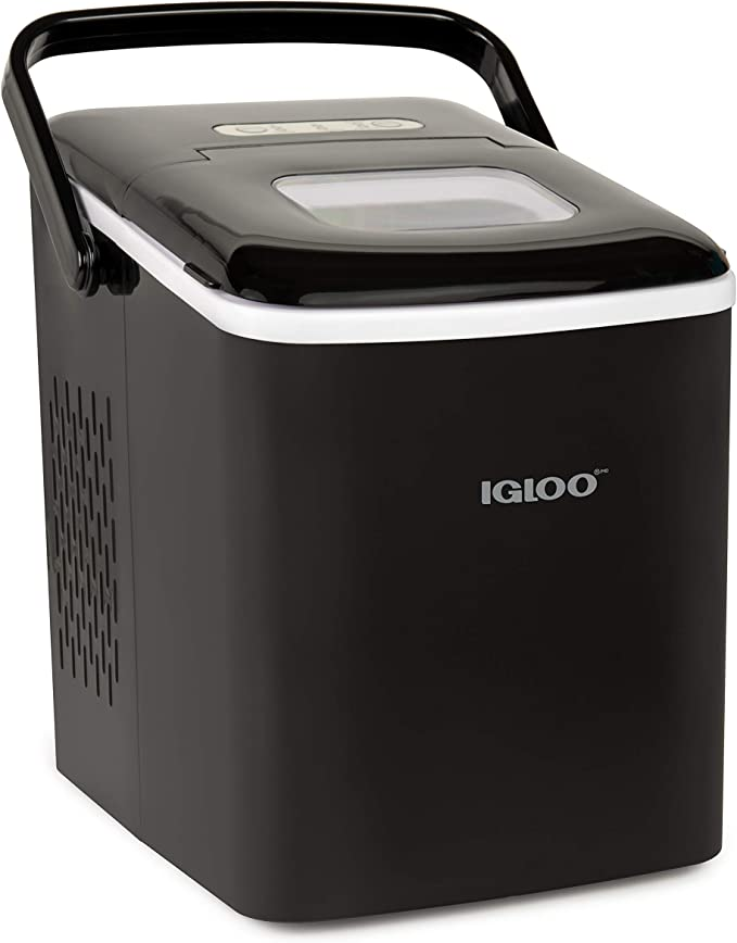 Igloo Iceb26hnbk Automatic Self Cleaning Portable Electric Countertop Ice Maker Machine With Handle 26 Pounds In 24 Hours 9 Ice Cubes Ready In 7 Minutes With Ice Scoop And Basket Black Appliances