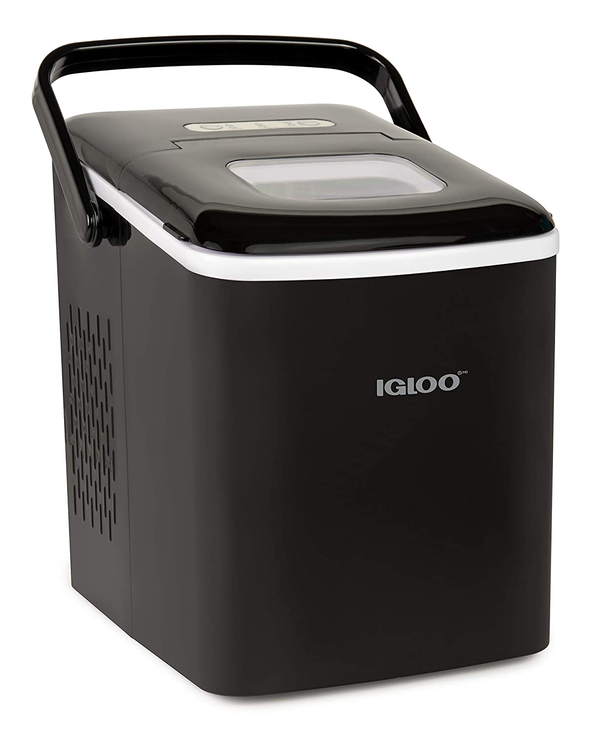 Igloo ICEB26HNBK Automatic Self-Cleaning Portable Electric Countertop Ice Maker Machine With Handle, 26 Pounds in 24 Hours, 9 Ice Cubes Ready in 7 minutes, With Ice Scoop and Basket