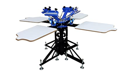 f8130d6a Image Unavailable. Image not available for. Color: 4 Color 4 Station Silk  Screen Printing Machine Press DIY T-Shirt Printer