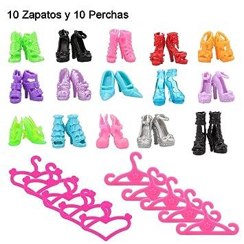 756e719977b0 Amazon.es: MIU Nana 20 Artículos = 10 Sets Perchas de Ropa Accesorios + 10  Zapatos Diferentes Color y Estilo de Moda para Muñeca Barbie Doll: Juguetes  y ...