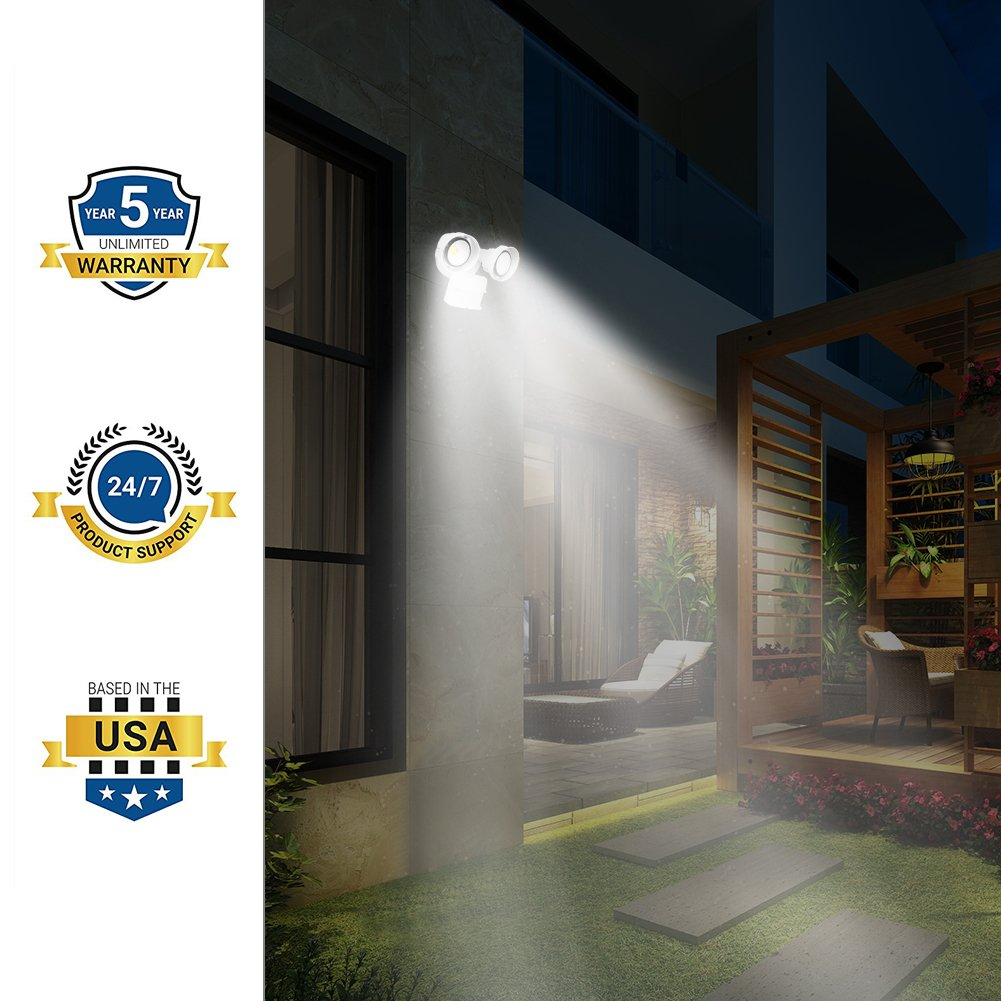 CINOTON 20W LED Security Lights Motion Outdoor,Infrared Motion Sensor Outdoor Flood Lights, 2 Head, Crystal White Glow 5000K Adjustable Dual Head by CINOTON (Image #7)