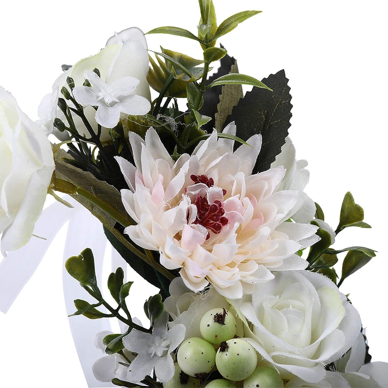 Women Girls Flower Crown Headband White + Beige Bohemian Adjustable Flower Headband with Berries Wedding Hair Wreath for Kids Festival Headdress Flower Garland