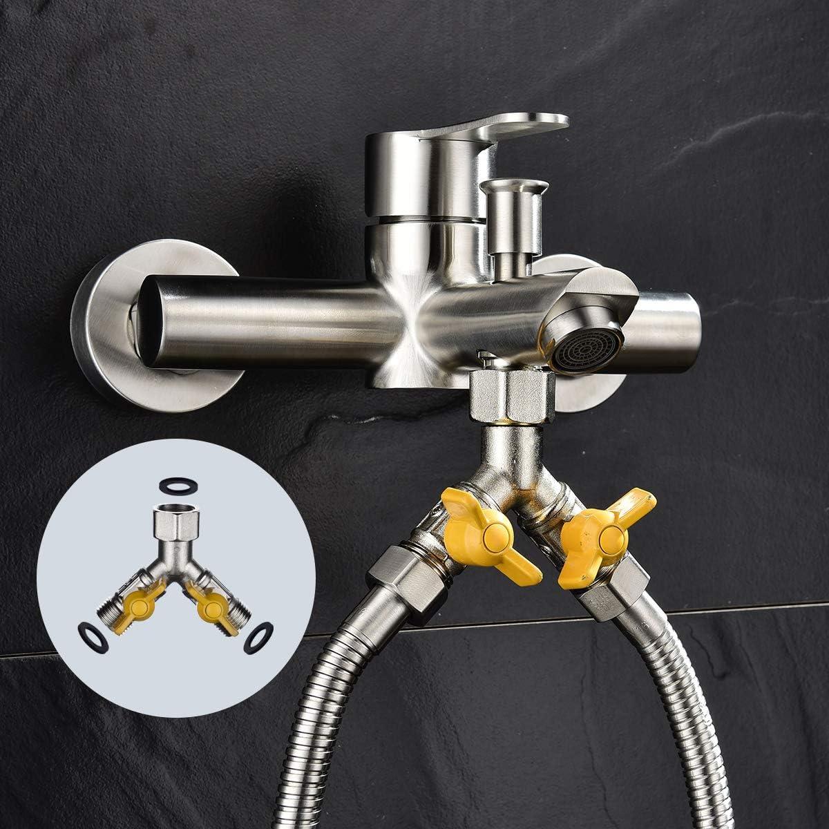 CIENCIA Lot de 3/voies Vanne STUECK G 1//2/en laiton Adaptateur pour tuyau de douche Vanne darr/êt Nickel bross/é