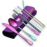 HOMQUEN Portable Utensils,Travel Camping Flatware Set,Stainless Steel Silverware Set,Include Knive/Fork/Spoon/Chopsticks/Stra