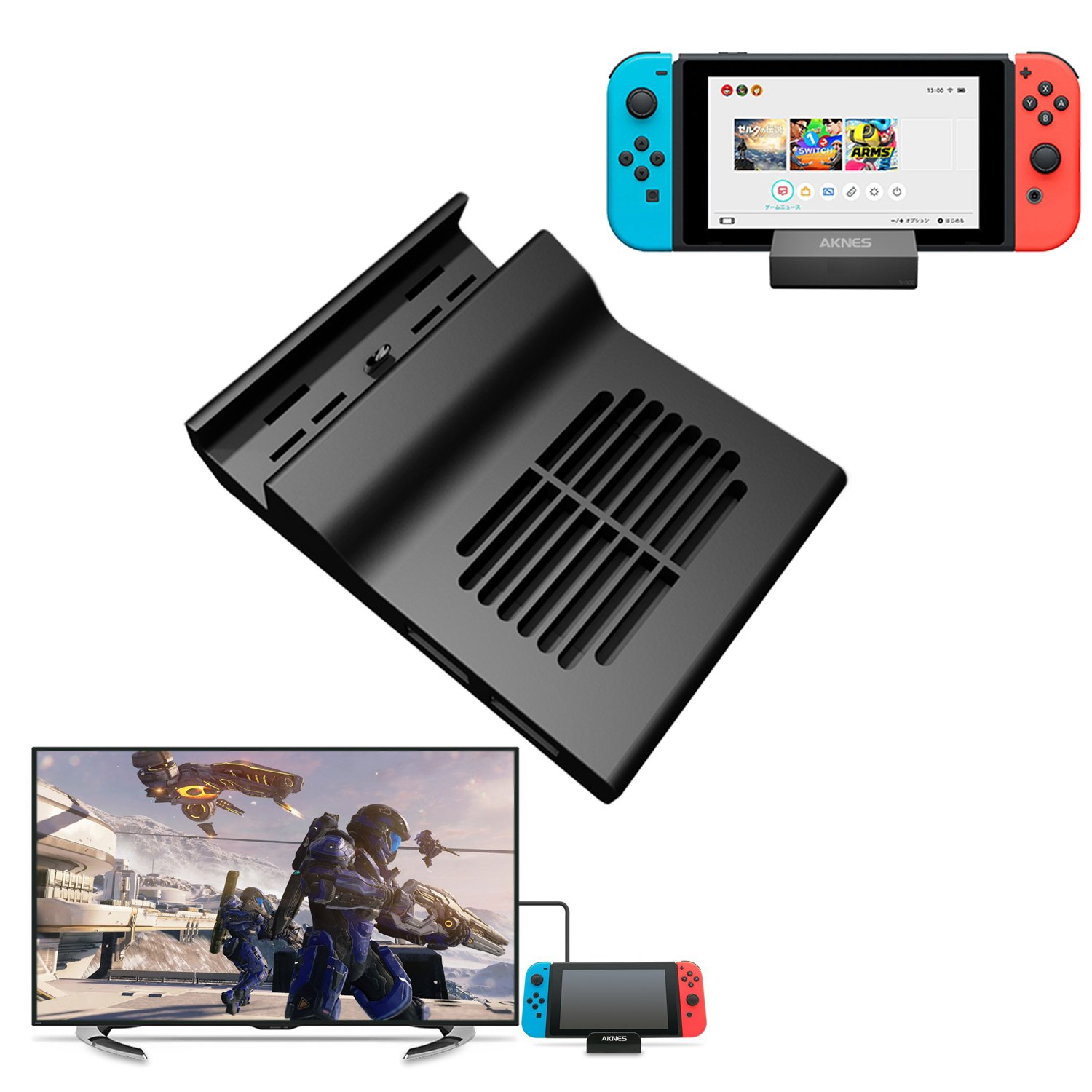 AKNES Nintendo Switch Dock, Portable Replacement Dock With Electronic Chip for Nintendo Switch (With Chip)