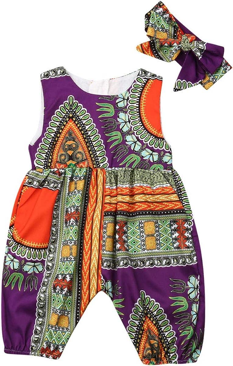 Headband 2Pcs Sets Little Kids Girl Party Skirt Toddler Baby Girls Summer African Clothes Boho Dashiki Print Tutu Skirt