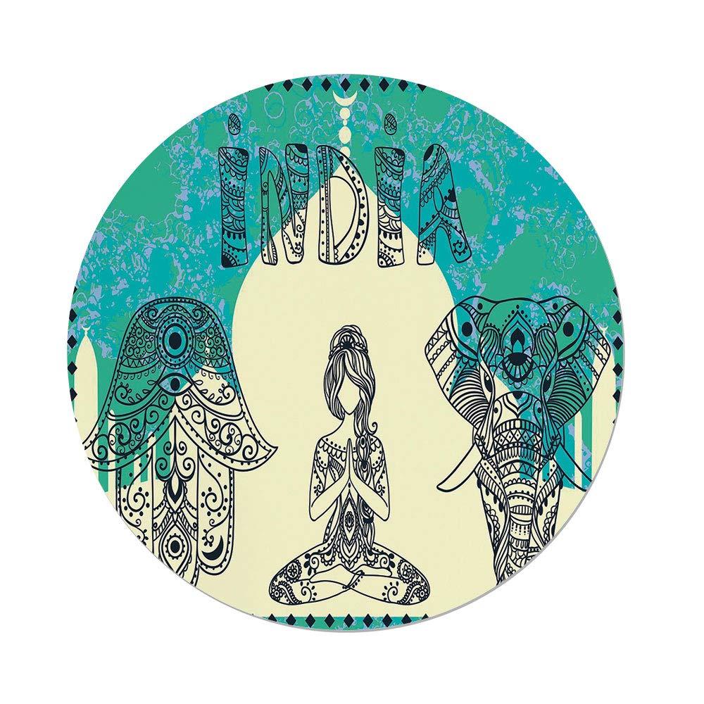 Polyester Round Tablecloth,Yoga,Ethnic Elephant Hamsa Hand Woman Doing Yoga Ornaments Taj Mahal Silhouette Decorative,Jade Green Cream Black,Dining Room Kitchen Picnic Table Cloth Cover,for Outdoor I
