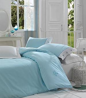 Cotton Box Plain 100% Cotton Duvet Cover Bedding Set Reversible (King, Turquoise)