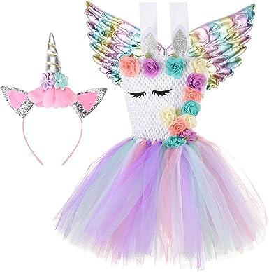 Girls Unicorn Costume Headband Halloween FANCY DRESS Up Kids Fairy Cosplay Party