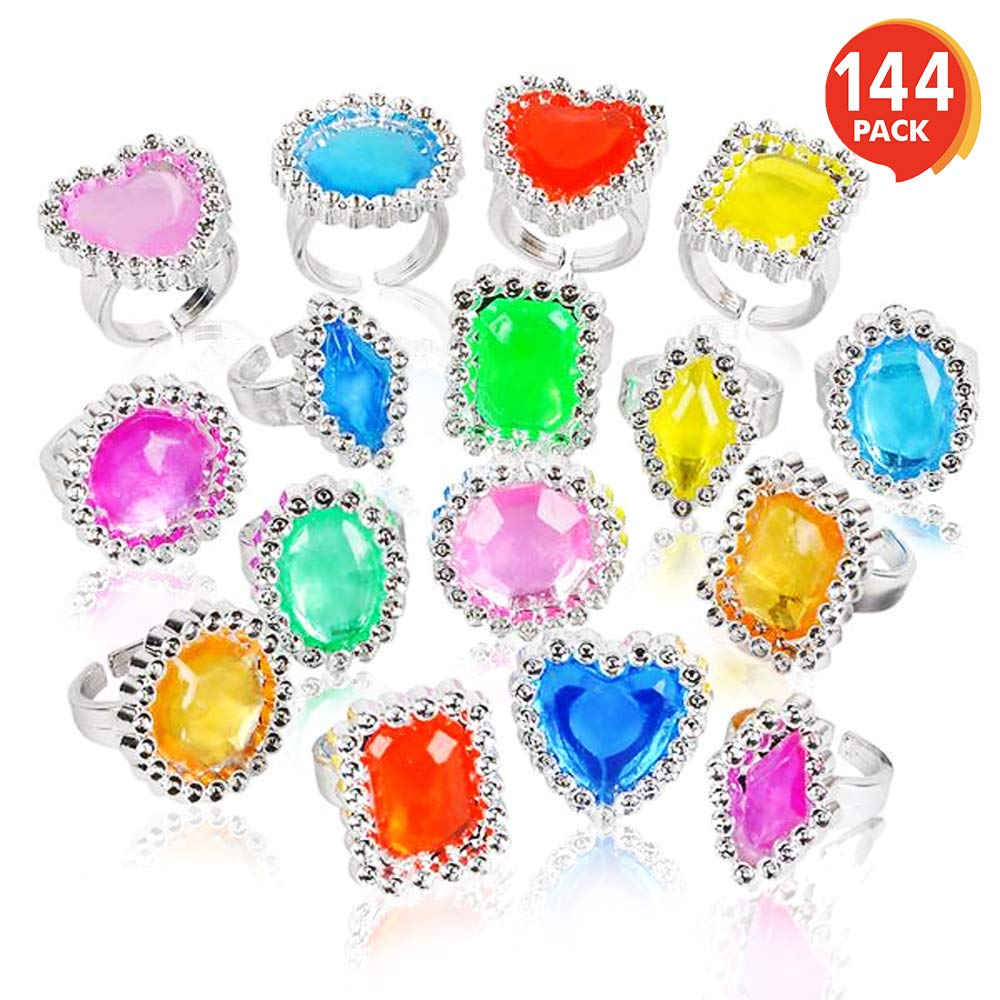 ArtCreativity Plastic Jewel Princess Rings for Kids - 144 Pack - Colorful Birthday Party Favors for Girls - Dress Up Accessories, Goodie Bag Fillers, Cupcake Toppers, Party Table Decoration Idea by ArtCreativity