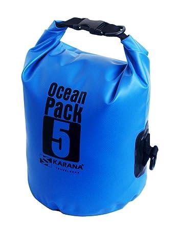e0b968bc3db Karana Ocean Dry Pack Day Waterproof Travel Kayak Bag 5 Litre 5L Blue   Amazon.co.uk  Clothing