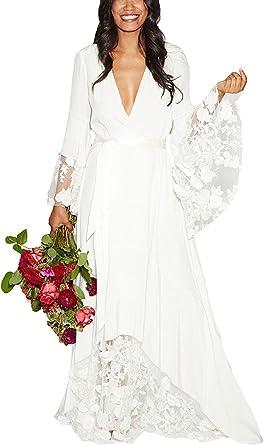 Pearlbridal Women S V Neck Flower Lace Boho Beach Wedding Dresses