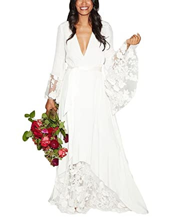 5ed9df6811 PearlBridal Women s V-Neck Flower Lace Boho Beach Wedding Dresses Long  Sleeves Chiffon Wedding Gowns at Amazon Women s Clothing store
