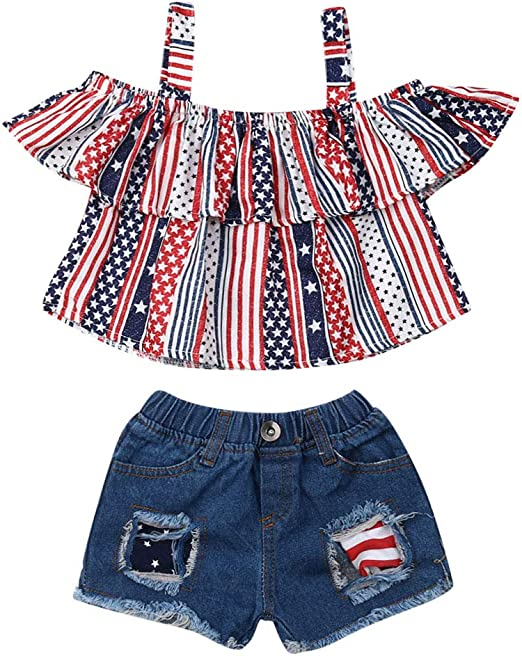 Infant Baby Girl 4th of July Summer Tops T Shirt Sequins Shorts Pants Outfit Set