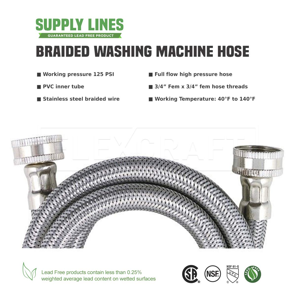Hot and Cold Water Supply 2 Pack Washing Machine Supply Line FlexCraft 2576PR-2 Stainless Steel Washing Machine Hose Connector Burst Proof 6 FT