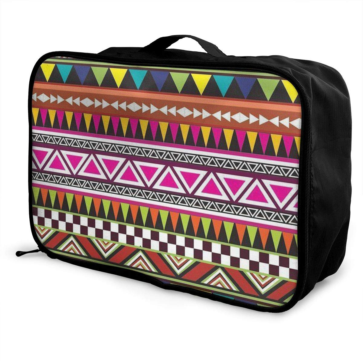 ADGAI A Variety of Geometric Patterns Canvas Travel Weekender Bag,Fashion Custom Lightweight Large Capacity Portable Luggage Bag,Suitcase Trolley Bag