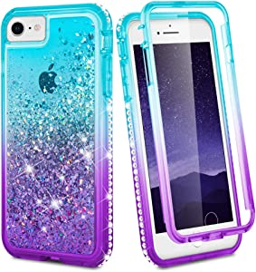 Ruky iPhone 7 8 Case, iPhone SE 2020 Case, iPhone 6 6s Full Body Case for Girls Women Clear Glitter Liquid Cover with Built-in Screen Protector Protective Phone Case for iPhone 6/6s/7/8/SE 2020, Aqua