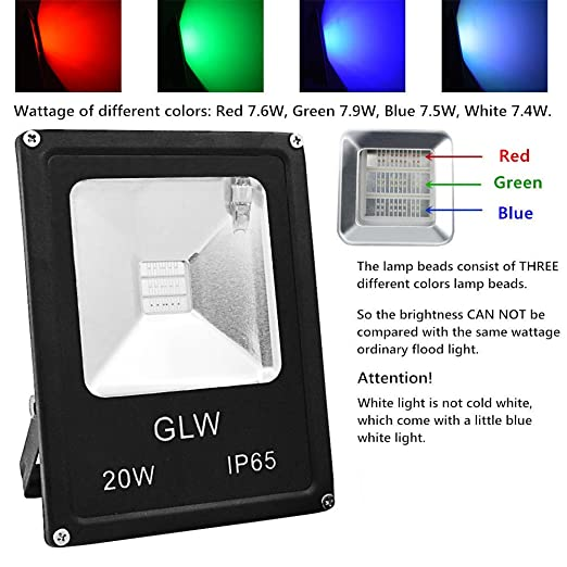 glw led rgb flood light 20w outdoor color changing lights with remote control ip65 waterproof dimmable wall washer light flood lamp 16 colors 4 modes