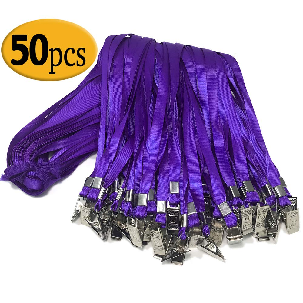 Purple Lanyard Clip Bulk 50 Pack 33-inch Badge Lanyards with Clip Lanyards by Bulk Office Nylon Neck Flat Lanyard with Badge Bulldog Clip Purple lanyards for id Badges (Purple)