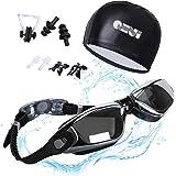 QHUI Schwimmbrille 100% UV-Schutz Wasserdicht Anti-Beschlag-Spiegel Dichter Verschluss Silikonband mit Schnellverschluss Einstellbare , Geschenke Nasenklammer,Ohrstöpsel & Badekappe