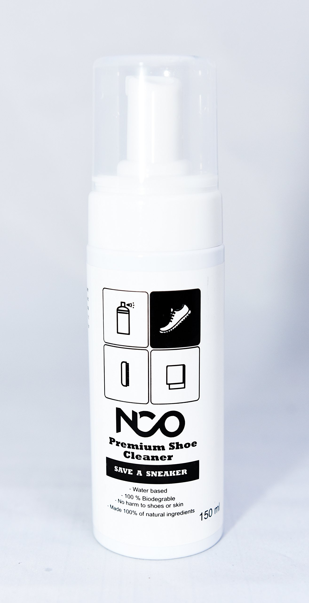 Premium Shoe Sneaker Cleaner Kit 150 ML Bottle Natural Foam Solution Set with Brush and Microfiber Towel Cloth Water Based Formula All in One Portable Kit by NCO (Image #9)