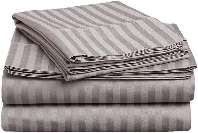 Tula Linen - Juego de sábanas de algodón egipcio de alta calidad, 1200 hilos, 4 piezas (1 sábana encimera + 1 sábana bajera + 2 fundas de almohada), plateado, Euro doble IKEA: Amazon.es: Hogar